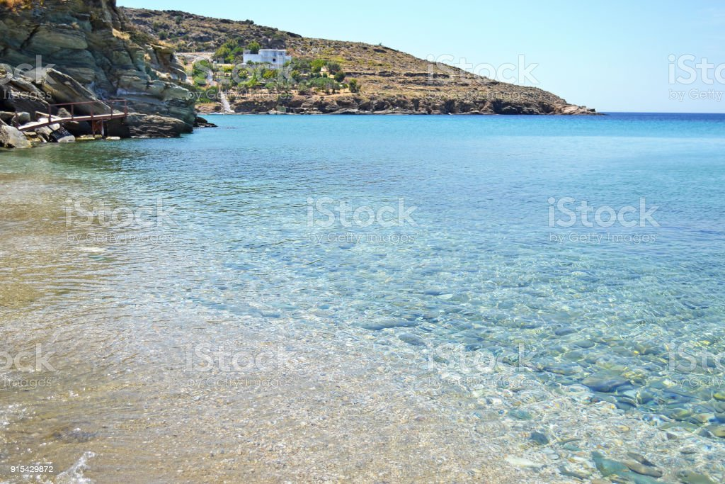 Batsi beach Andros island Greece stock photo