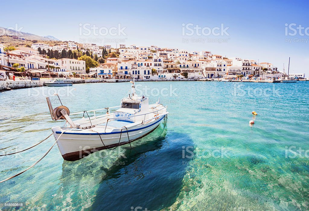 Batsi town, Andros island, Greece stock photo