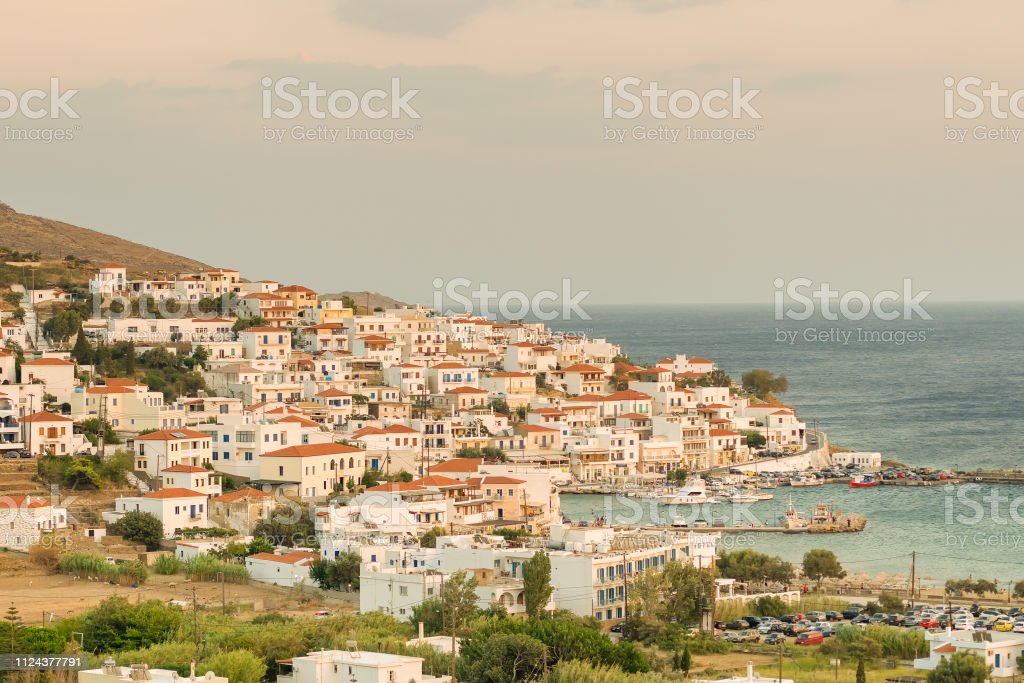 Batsi village at Andros island in Greece. A beautiful touristic destination. stock photo