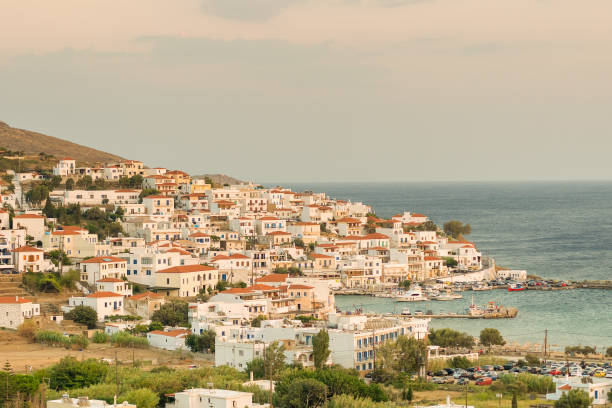 Batsi village at Andros island in Greece. A beautiful touristic destination. stock photo