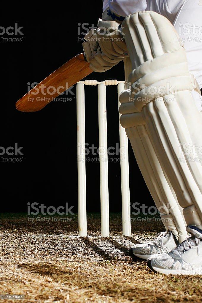 Batsman at the crease royalty-free stock photo