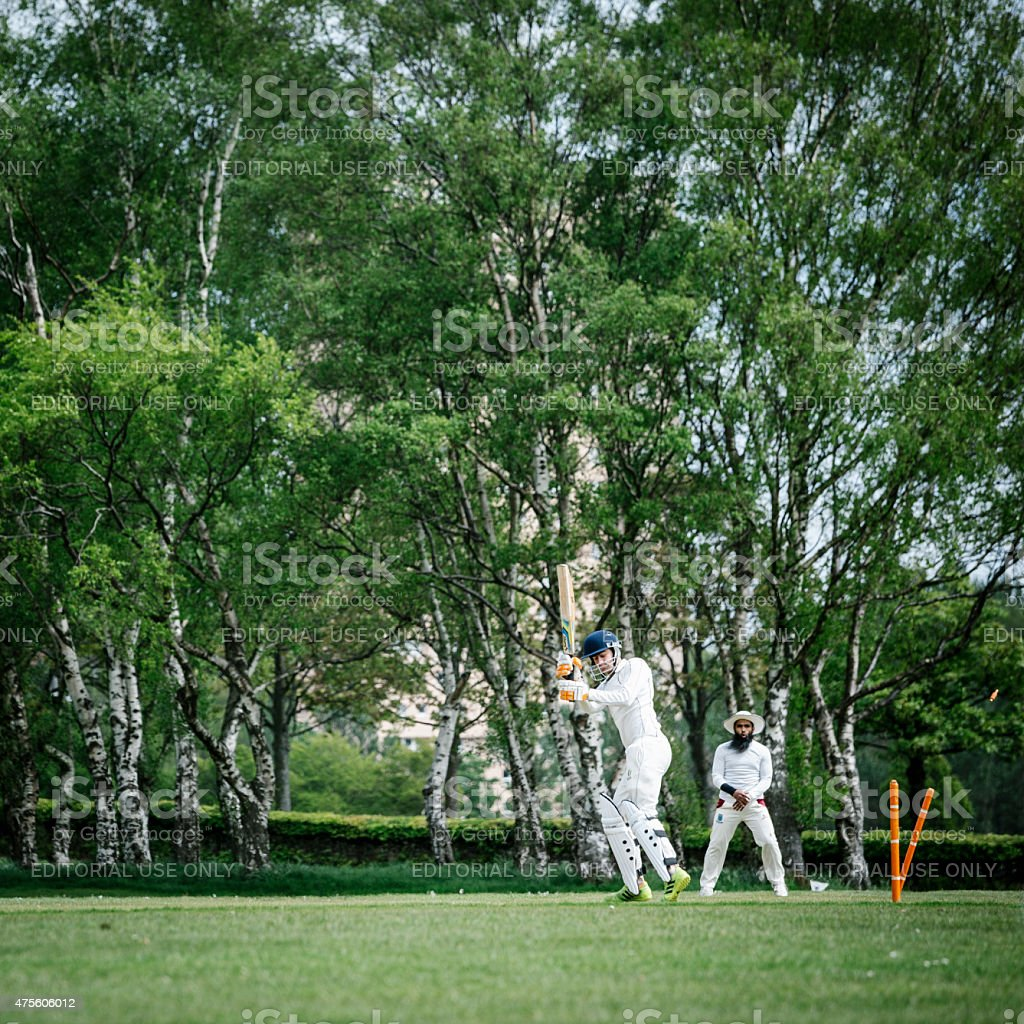 Batsman is Bowled Local Club Cricket stock photo