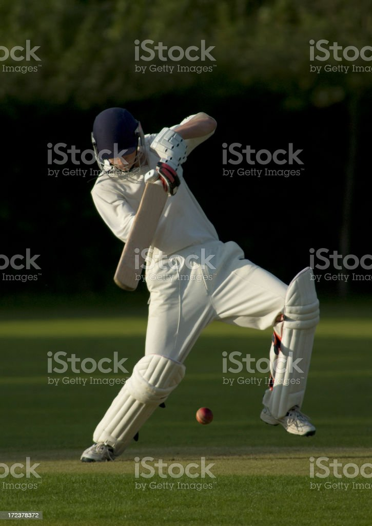 Batsman playing square drive shot royalty-free stock photo