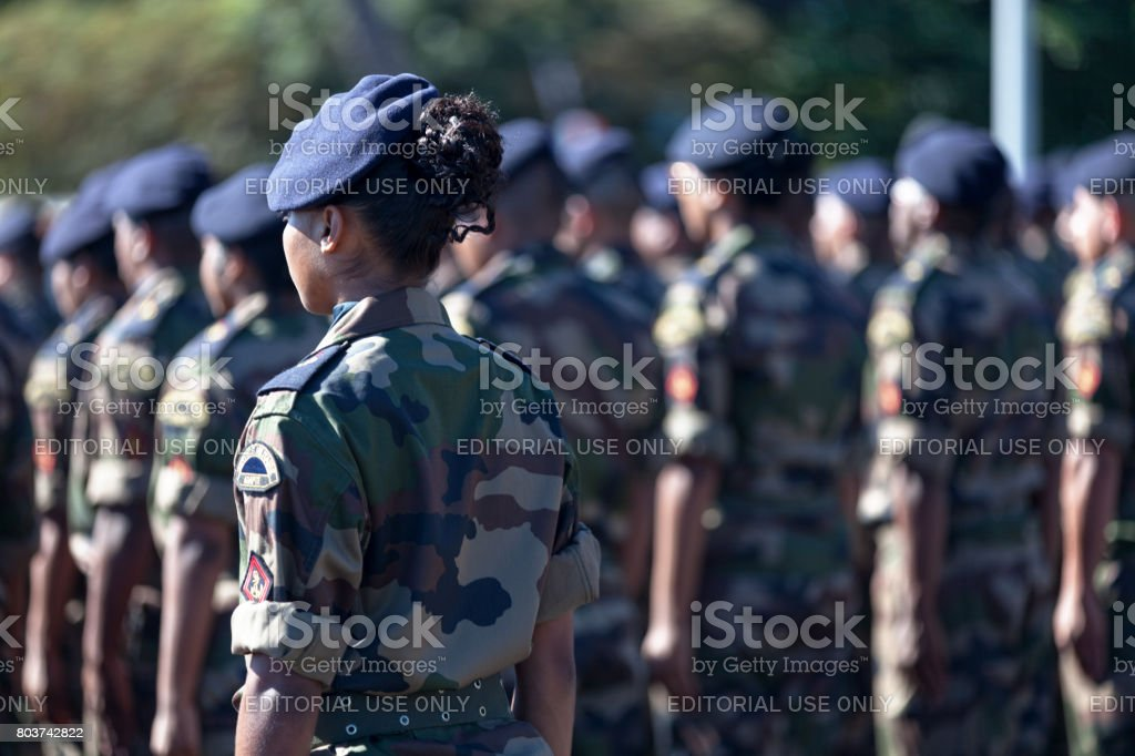 Battalion of French soldiers parading Saint-Paul, La Réunion - June 28 2017: Battalion of French soldiers of the RSMA parading during a monthly ceremony rewarding the young soldiers. Armed Forces Stock Photo