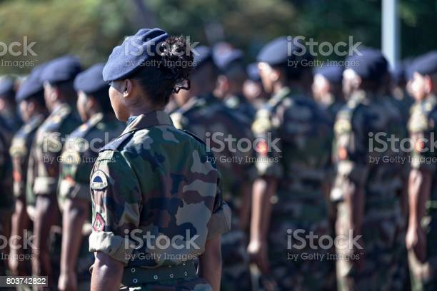 Battalion Of French Soldiers Parading Stock Photo - Download Image Now