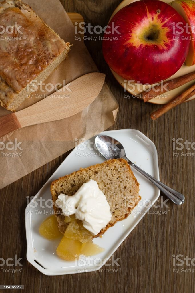 Batter cake with cream and apples royalty-free stock photo