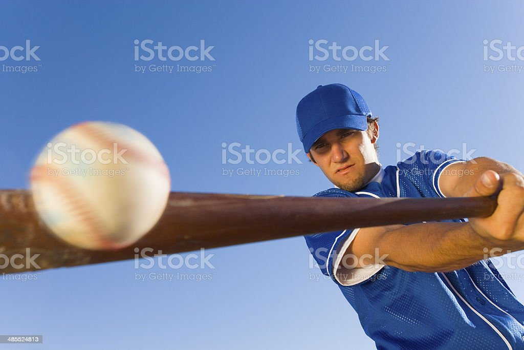 Batter Hitting Baseball stock photo