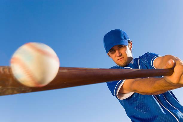 Batter Hitting Baseball stock photo