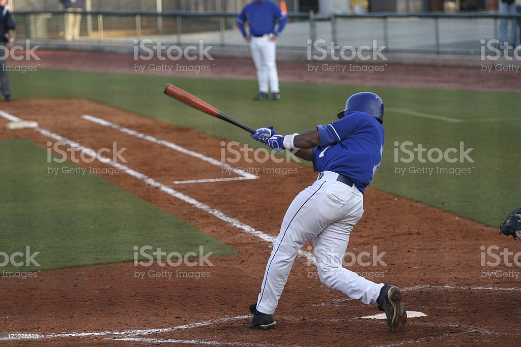 Batter in baseball just swung his bat about to run royalty-free stock photo