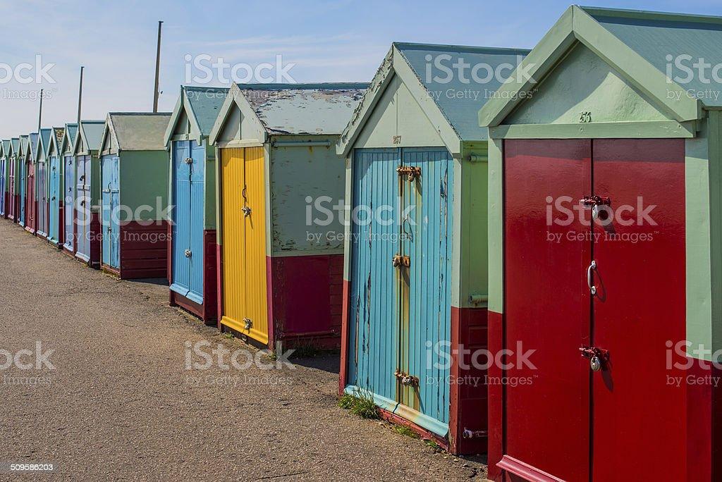 Battered beach huts stock photo