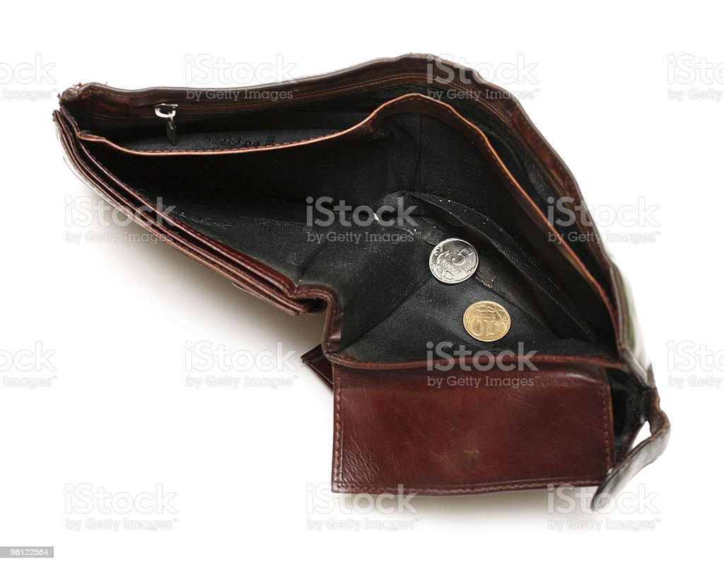 battered empty purse with two coins royalty-free stock photo