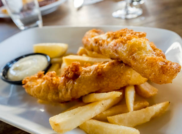 Battered fish and chips stock photo