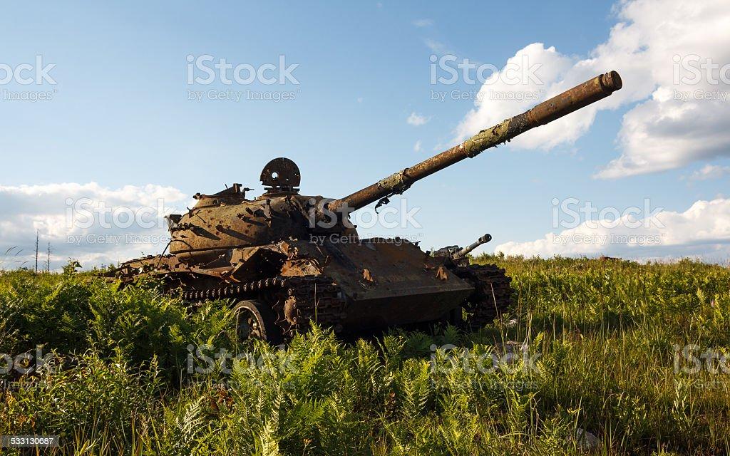 Battered T-55 tank stock photo