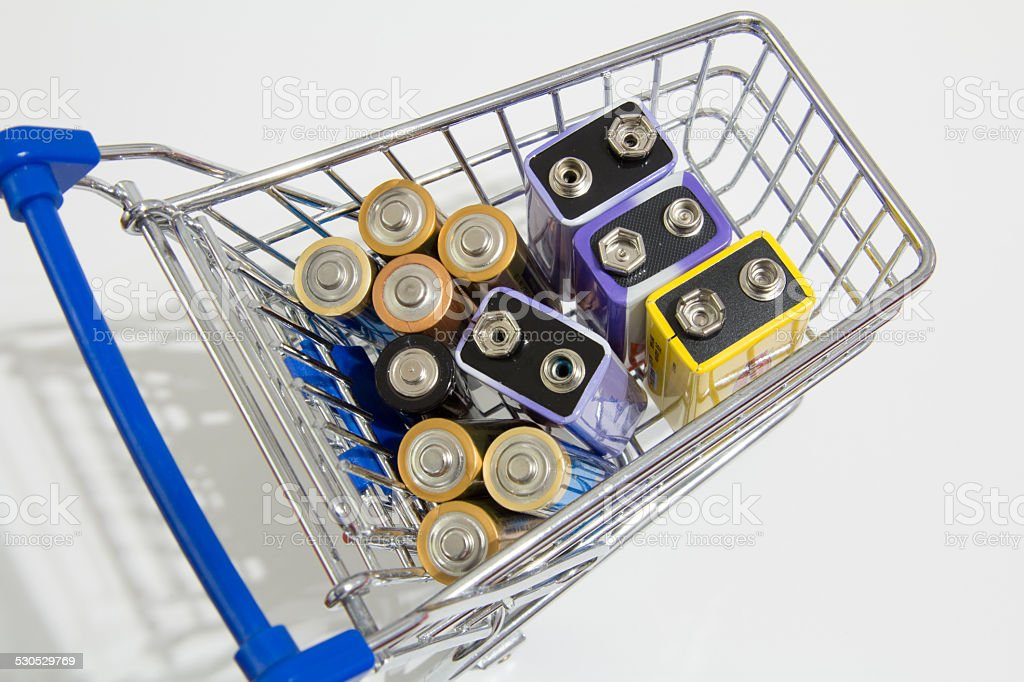 Batteries in a shopping cart stock photo