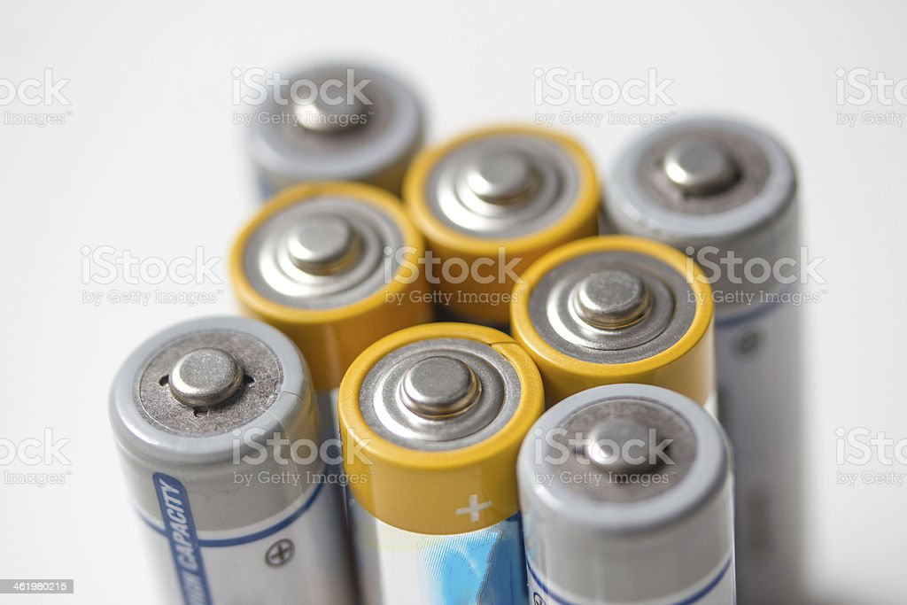 batteries isolated on white stock photo