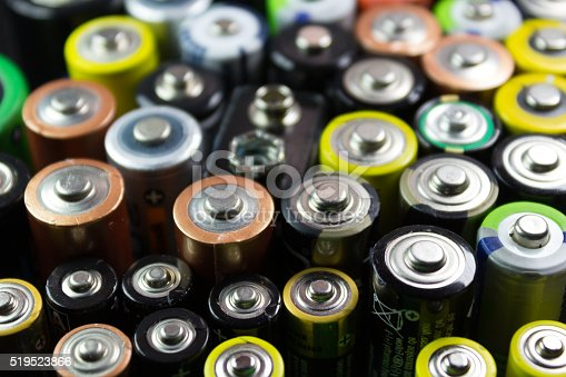 istock Batteries of different types and colors 519523866