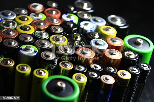 istock Batteries of different types and colors 598667896
