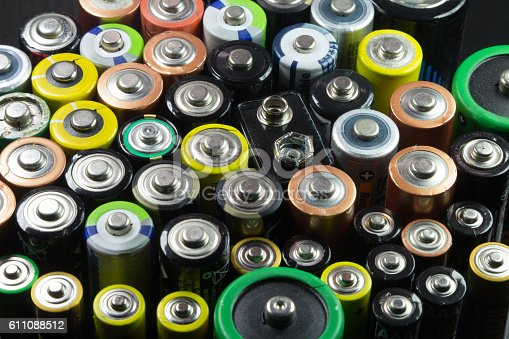 istock Batteries of different types and colors 611088512