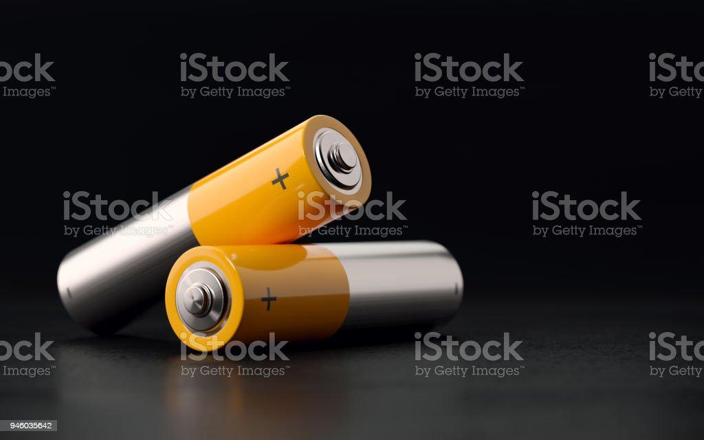 Batteries On Black Background stock photo