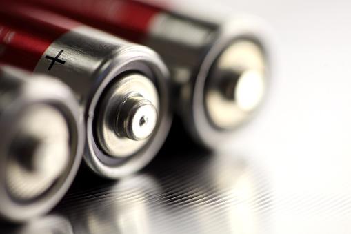 AA batteries, close-up.