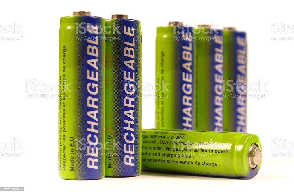 batteries row stock photo
