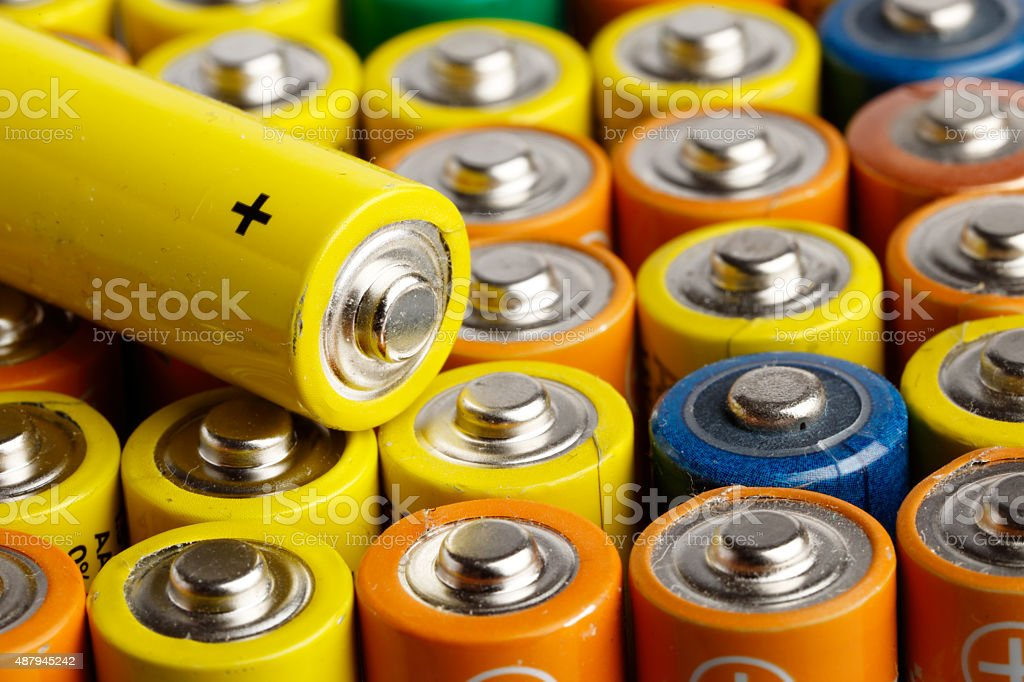 Batteries size AA stock photo