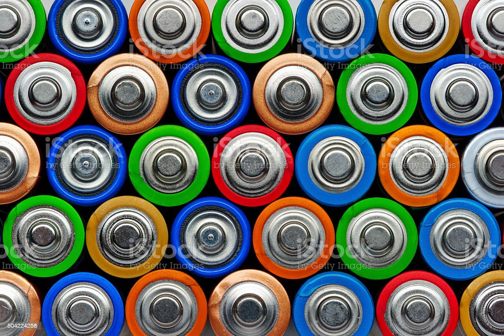Batteries top view bildbanksfoto