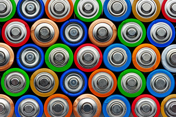 Batteries top view stock photo