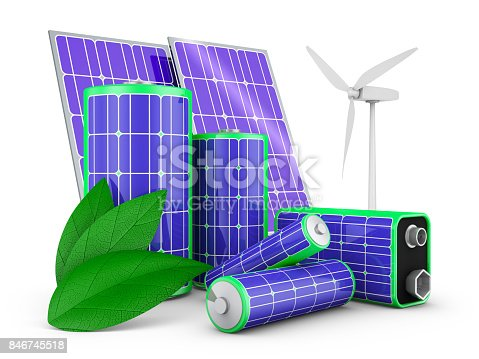 istock batteries with solar panels 846745518