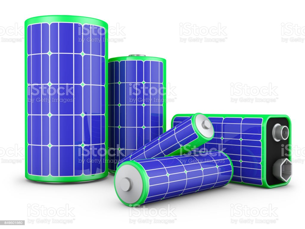 batteries with solar panels stock photo
