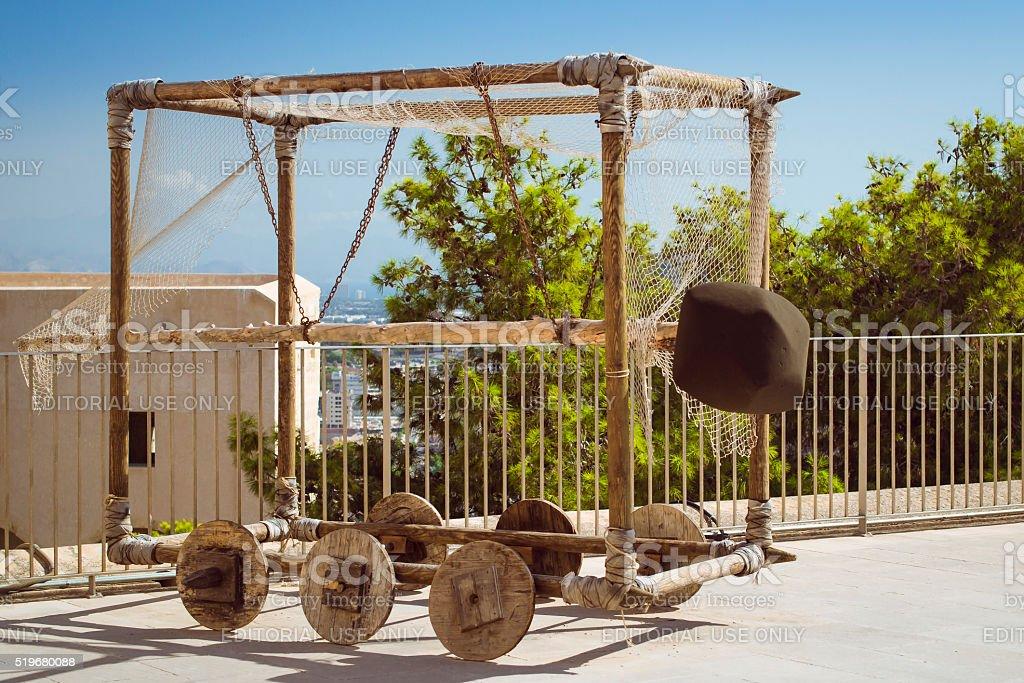 Battering RAM on wheels in the fortress of Santa Barbara stock photo