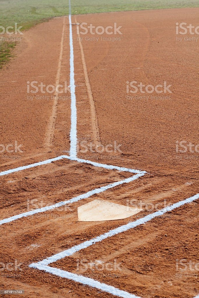 Batter's box and baseline stock photo
