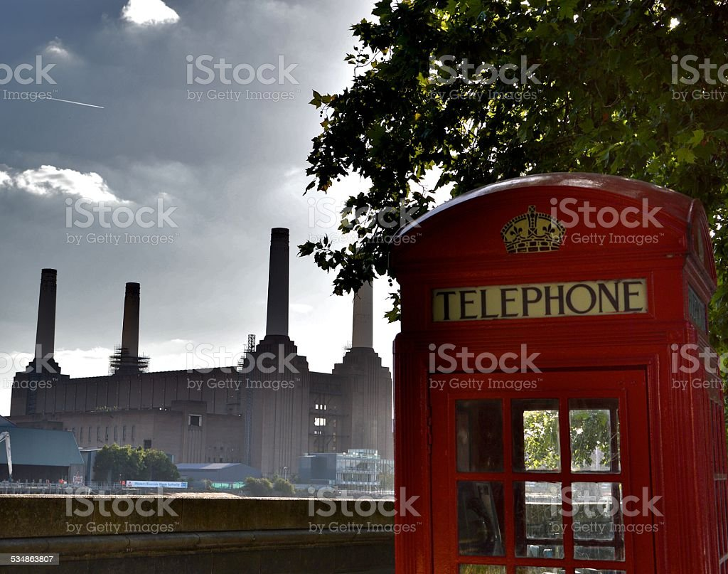 Battersea and Phone Box stock photo