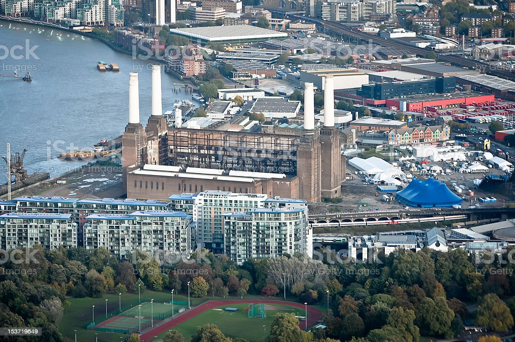 Battersea power station, aerial view stock photo