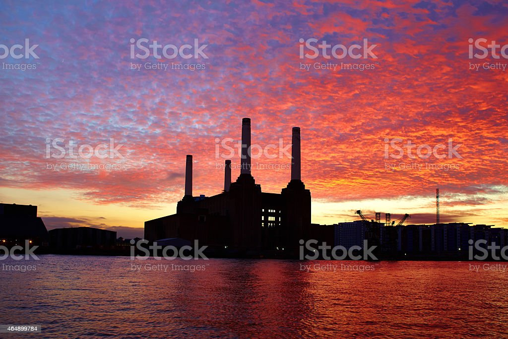Battersea Power Station And Dramatic Sunset stock photo