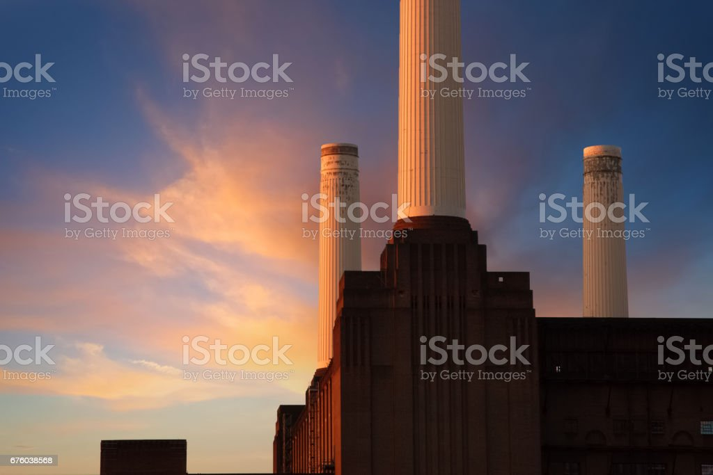 Battersea Power Station At Dawn, Composite stock photo