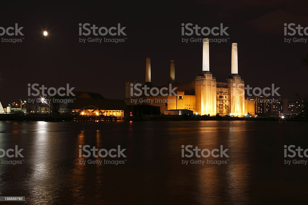 Battersea power station at night stock photo