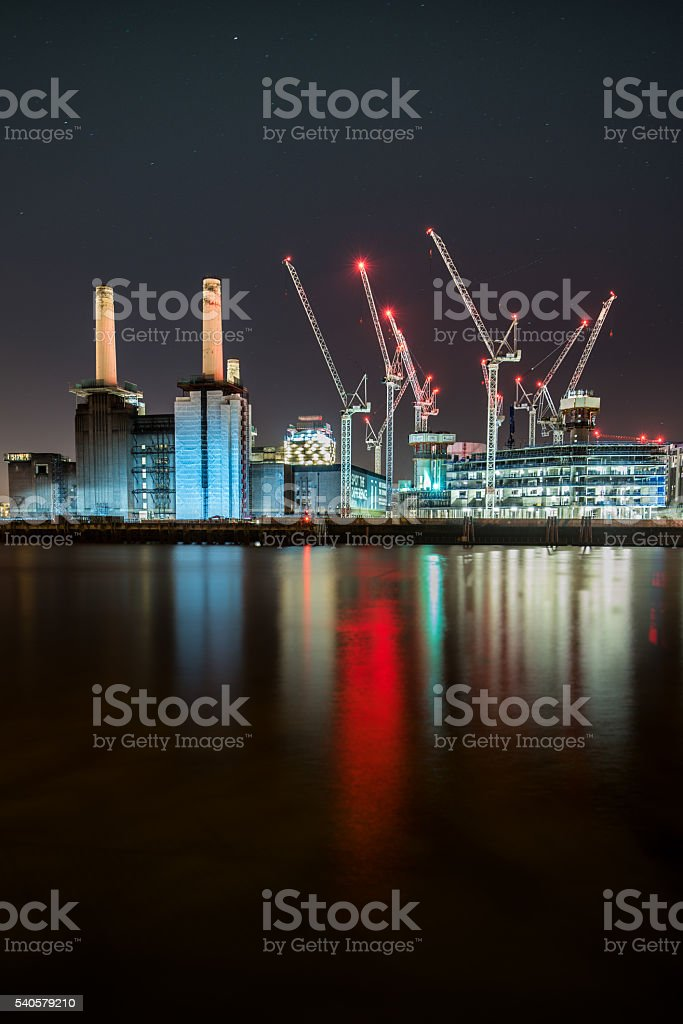 Battersea Power Station construction as seen from the north bank stock photo