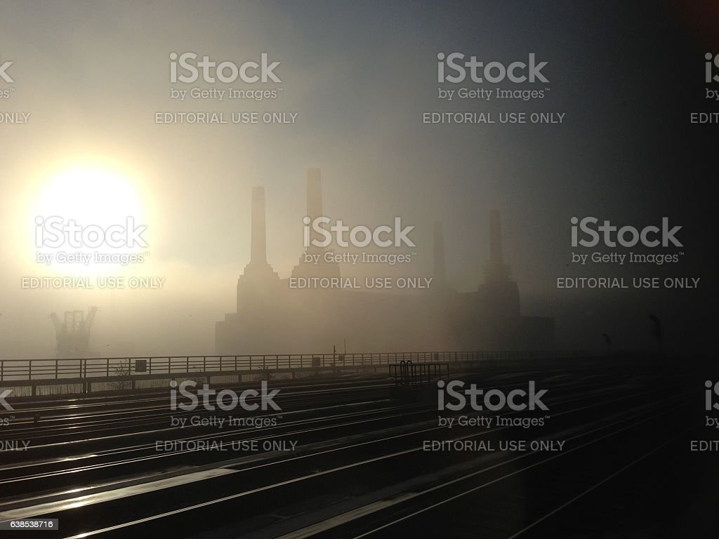 Battersea Power Station in the morning mist, London stock photo