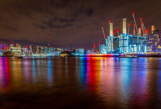 Battersea power station in the night, London stock photo