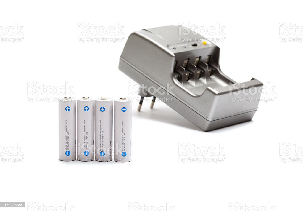 AA battery and recharge stock photo