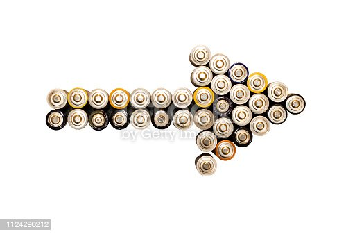 istock Battery arrow with white background 1124290212