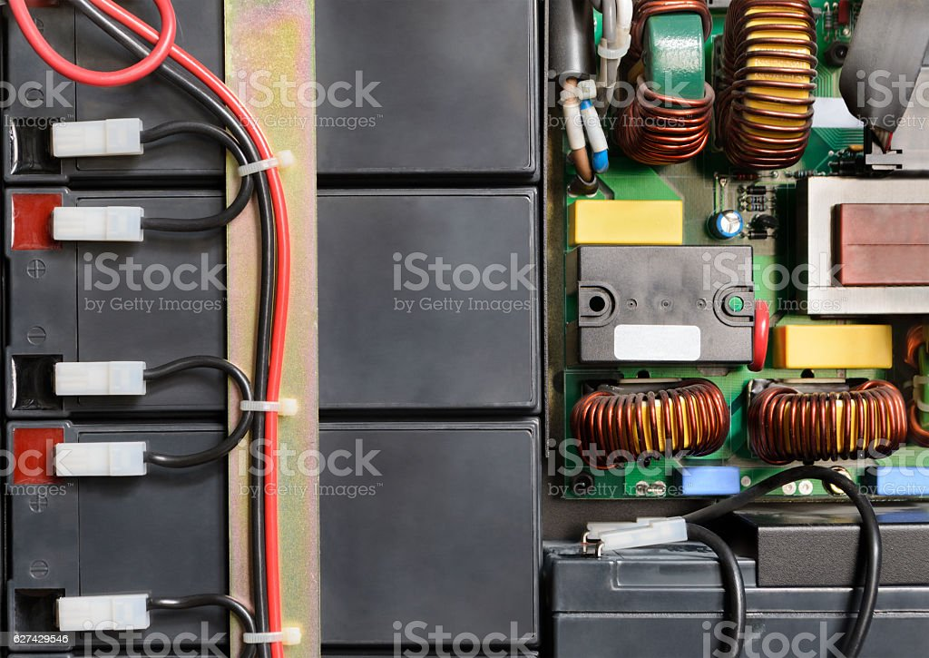 Battery block connected by wires stock photo