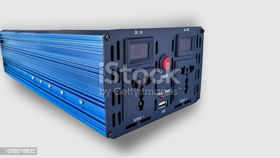 Power InvertersDC to AC from car battery isolated on a white background