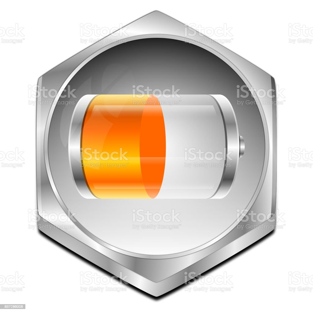 Battery Button - 3D illustration stock photo