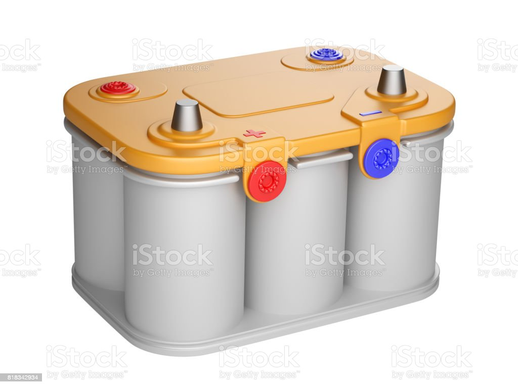 Battery car isolated on a white background. stock photo