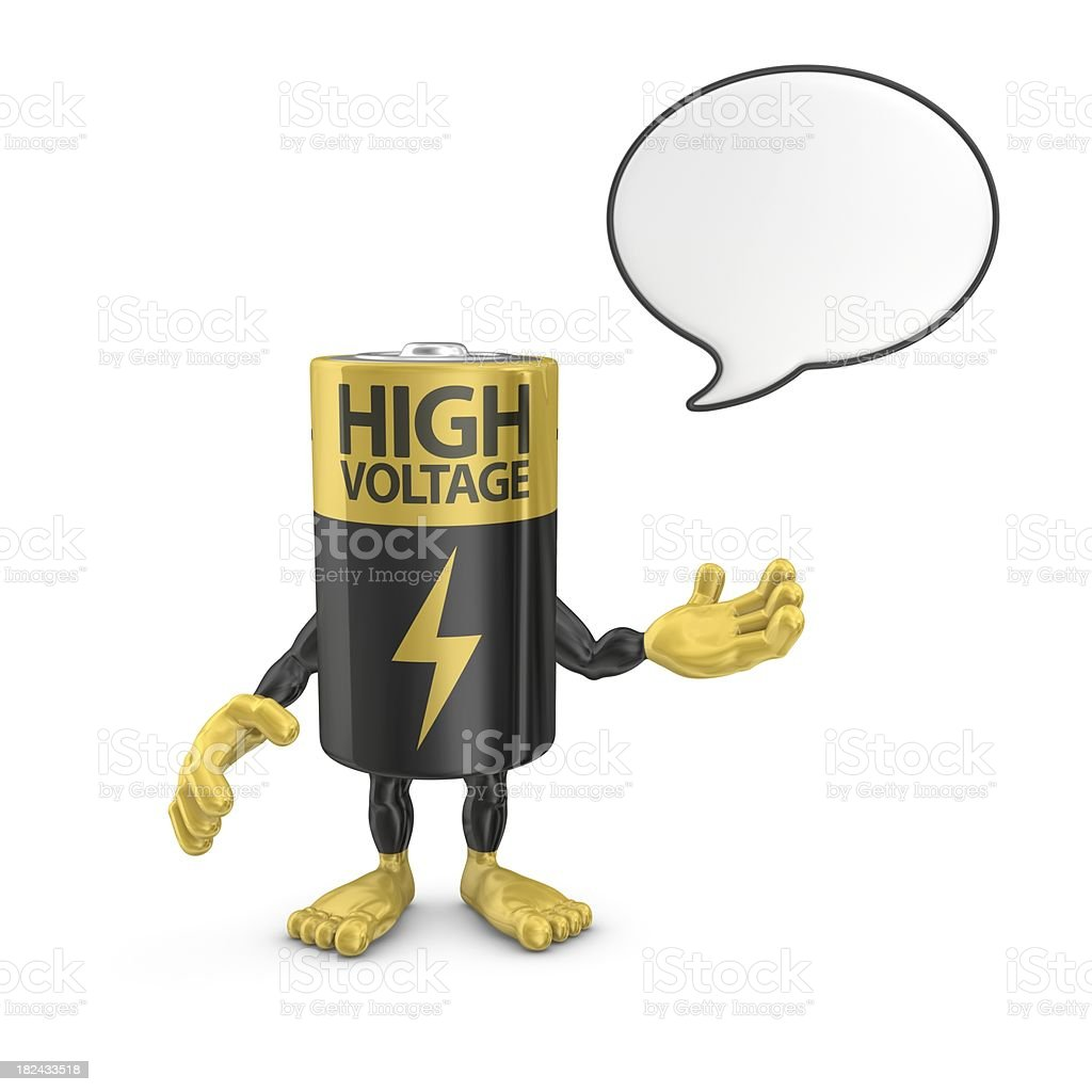 battery character with speech bubble royalty-free stock photo
