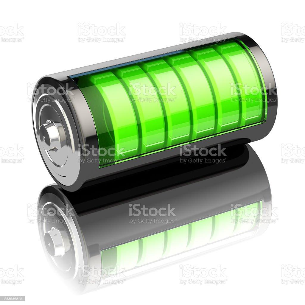 Battery charge level indicators isolated on white. Charging. stock photo