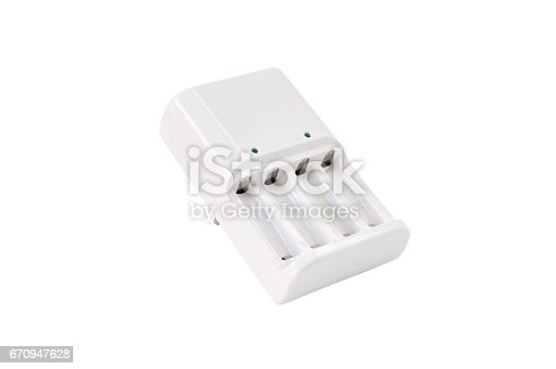 istock Battery charger on white background with clipping path 670947628