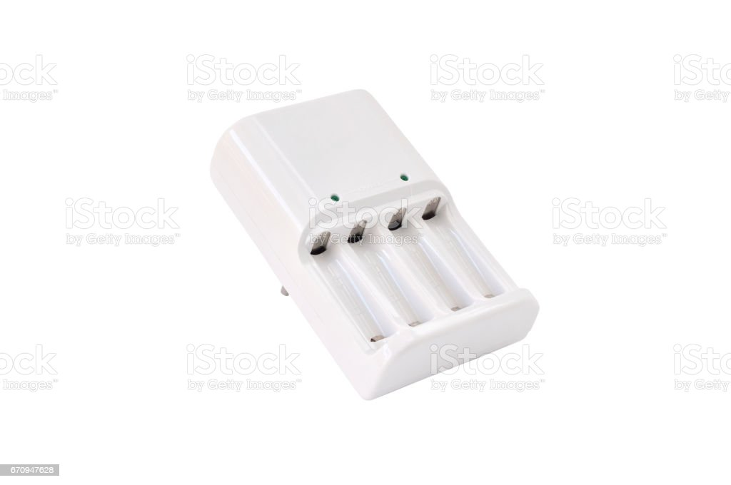 Battery charger on white background with clipping path stock photo